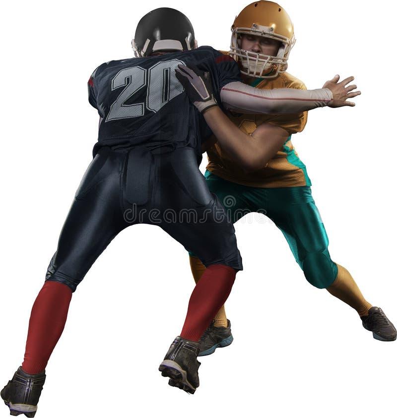 Giocatore di football americano nel bianco isolato azione immagini stock