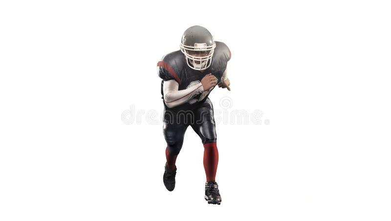 Giocatore di football americano nel bianco isolato azione immagini stock libere da diritti