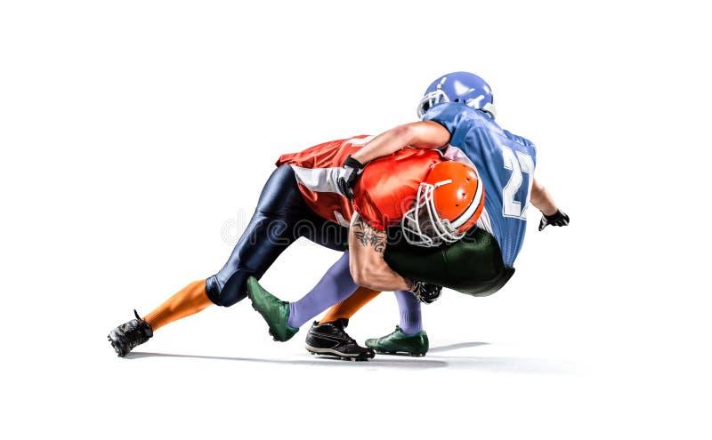 Giocatore di football americano nell'azione sullo stadio immagine stock