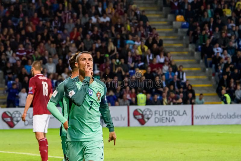 Giocatore di football americano portoghese, celebrità Cristiano Ronaldo immagini stock libere da diritti
