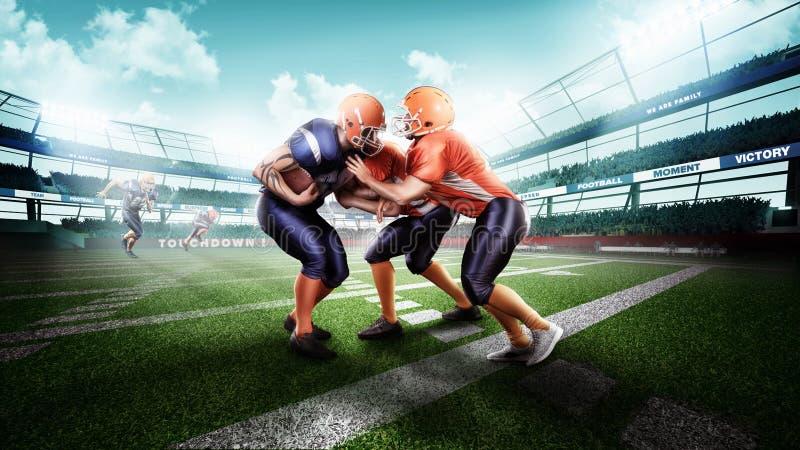 Giocatore di football americano professionale nell'azione sullo stadio fotografie stock libere da diritti