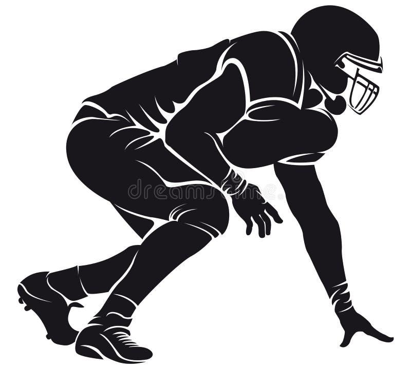 Giocatore di football americano, siluetta illustrazione vettoriale