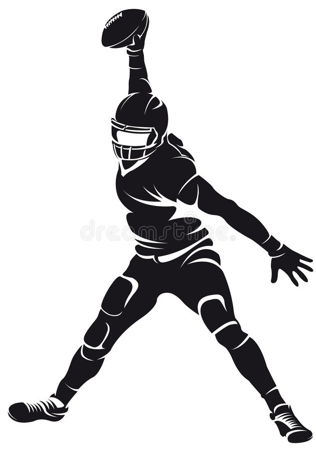 Giocatore di football americano, siluetta illustrazione di stock