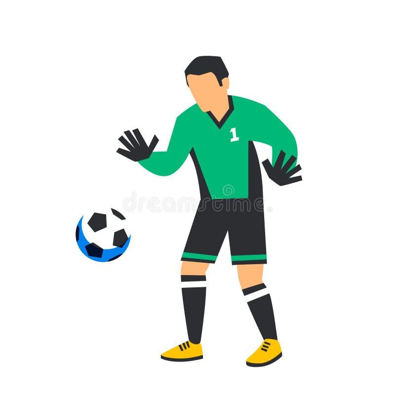 Giocatore di football americano di verde dell'estratto del portiere di calcio di calcio con la palla Sportivi di calcio isolati s illustrazione di stock