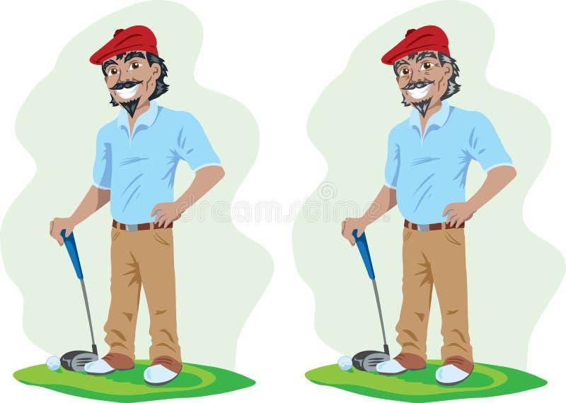 Giocatore di golf anziano e giovane royalty illustrazione gratis