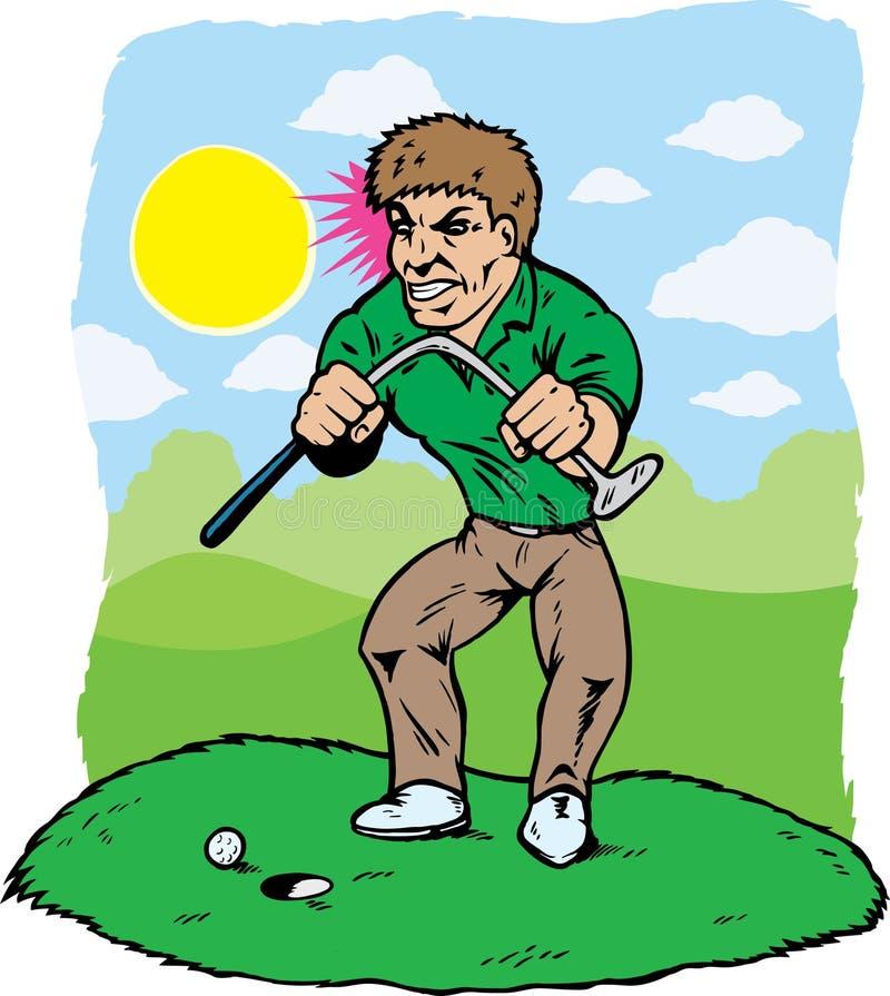 Giocatore di golf arrabbiato illustrazione di stock