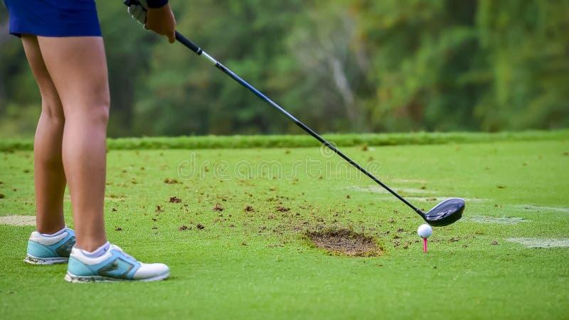 Giocatore di golf che colpisce golf al foro al campo da golf immagini stock
