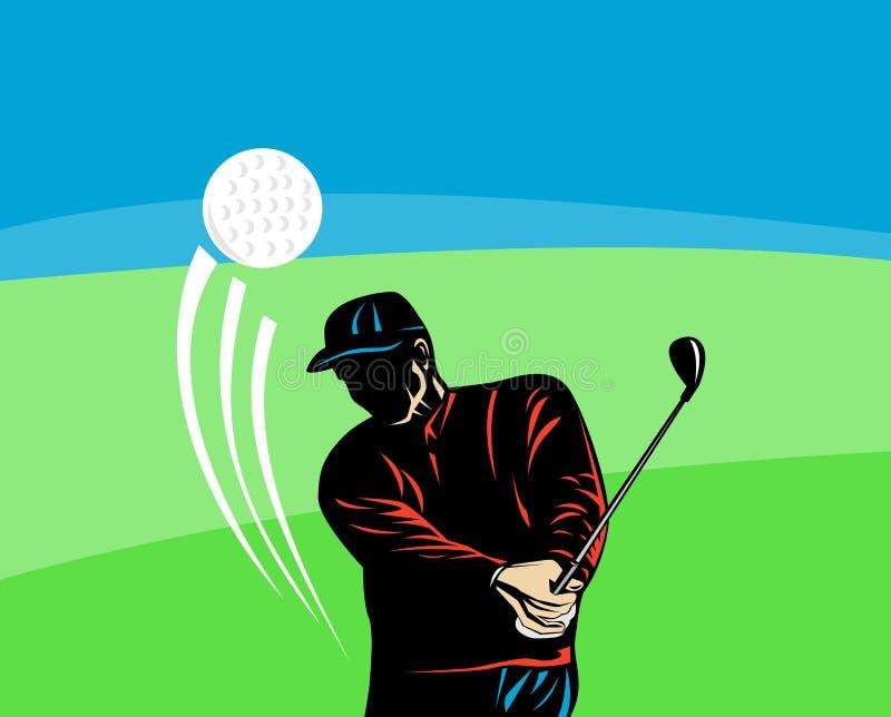 Giocatore di golf che un a Tire fuori illustrazione vettoriale