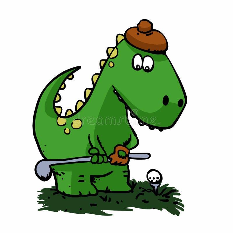Giocatore di golf del dinosauro - dinosauro divertente royalty illustrazione gratis