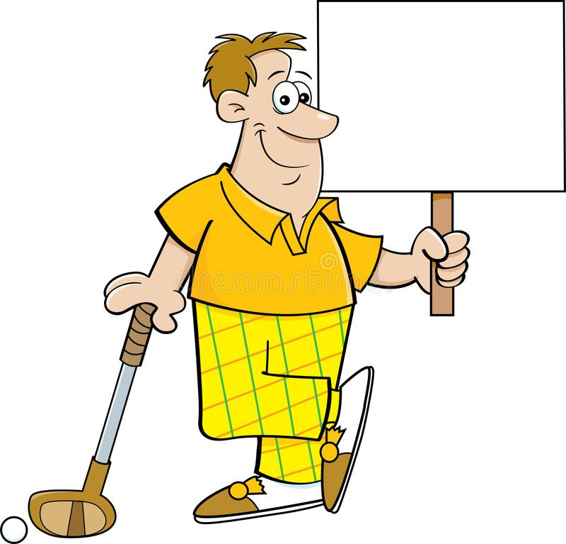 Giocatore di golf del fumetto che tiene un segno mentre appoggiandosi un club di golf illustrazione di stock