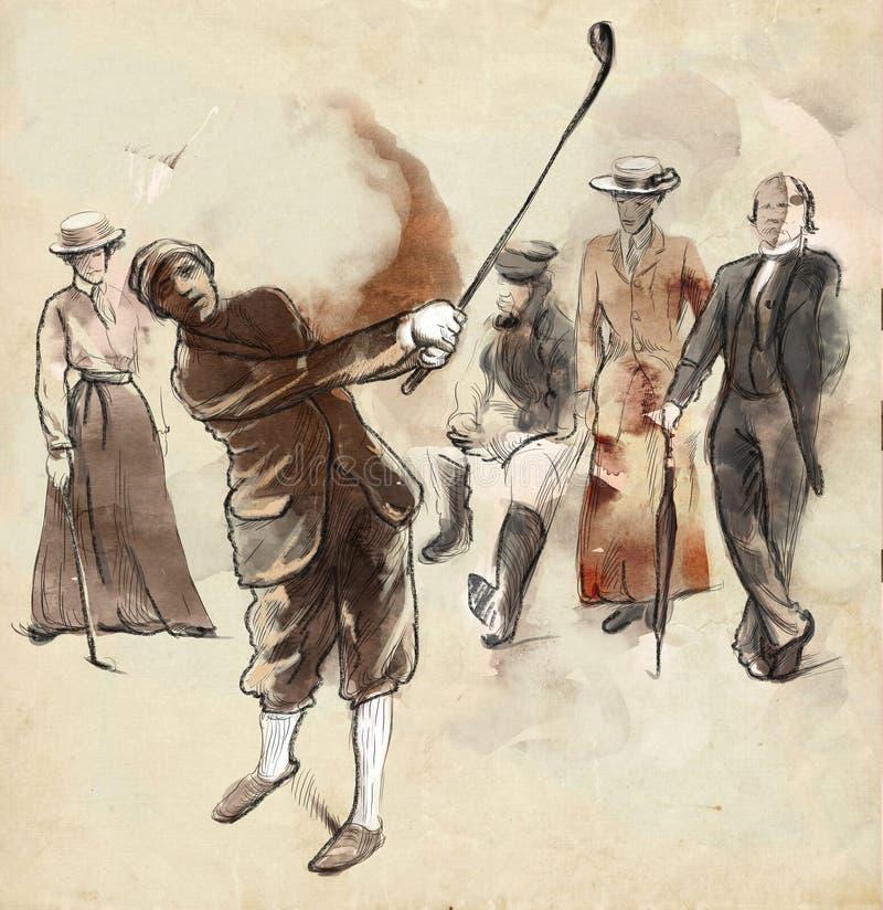 Giocatore di golf - un'illustrazione disegnata a mano e dipinta illustrazione di stock