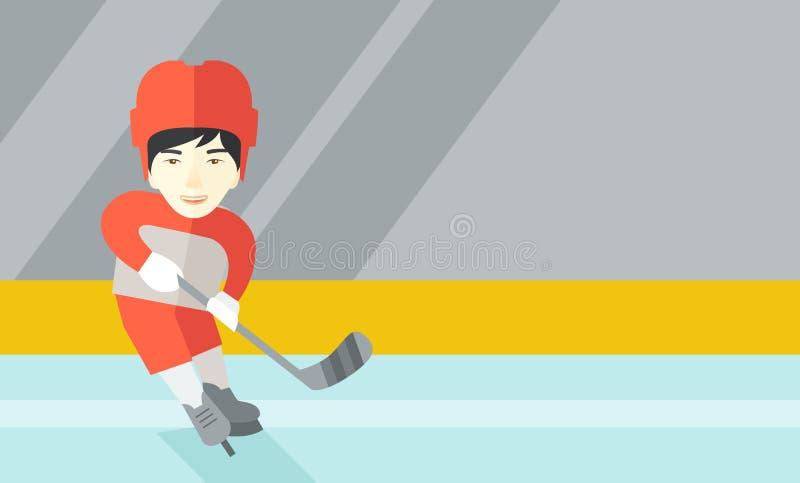 Giocatore di hockey alla pista di pattinaggio royalty illustrazione gratis