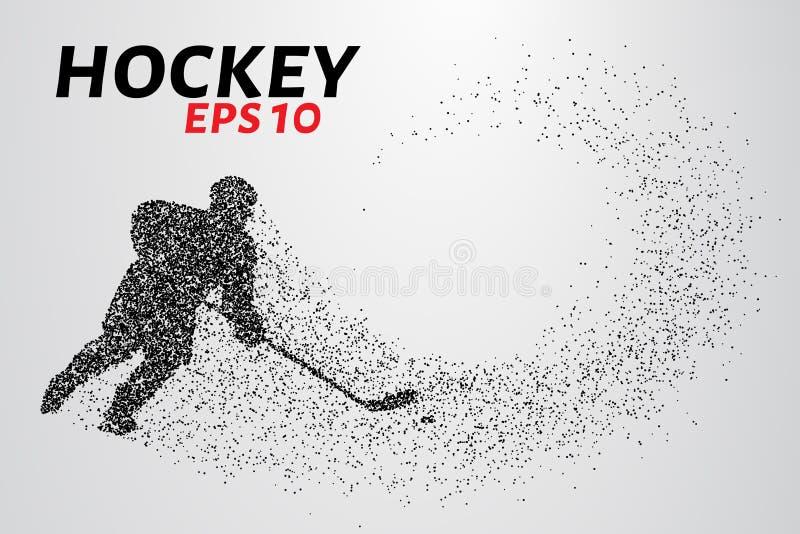 Giocatore di hockey delle particelle illustrazione di stock