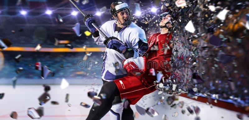 Giocatore di hockey in foto aggressiva di moto di attacco di azione fotografia stock