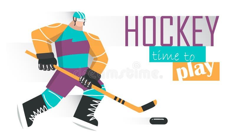 Giocatore di hockey professionale che pattina sul ghiaccio Illustrazione di vettore illustrazione di stock