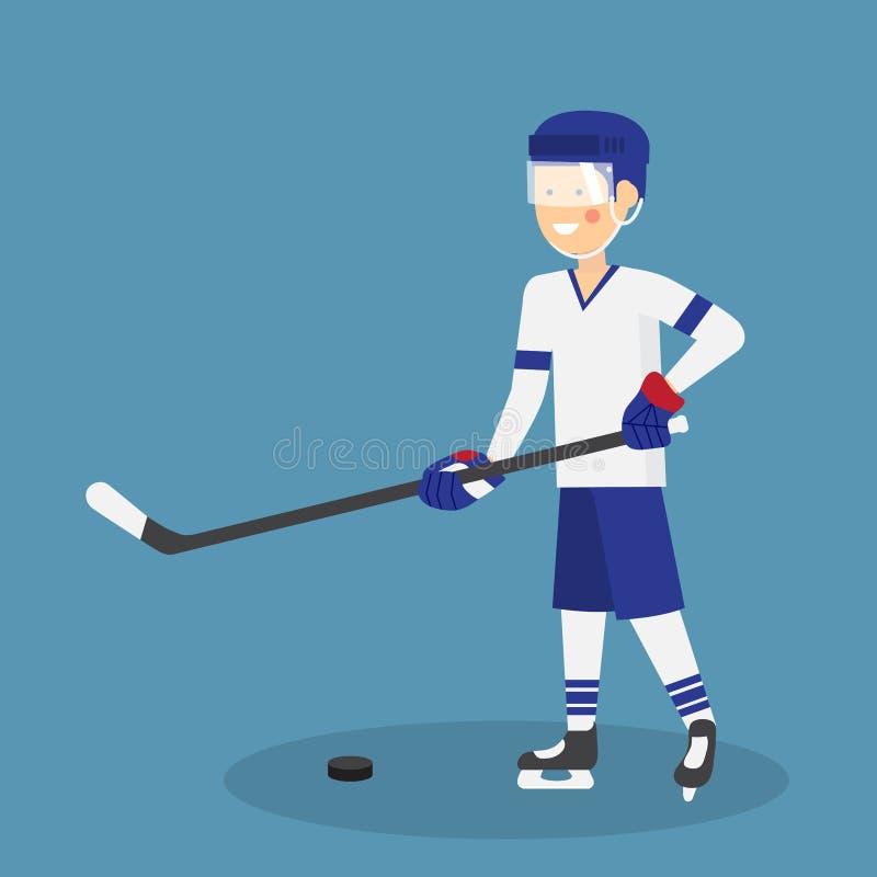 Giocatore di hockey su ghiaccio sveglio con il bastone e disco pronto per gioco illustrazione vettoriale