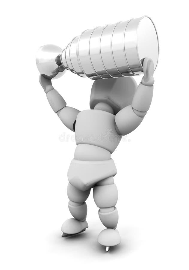 Giocatore di hokey del ghiaccio con il trofeo illustrazione vettoriale