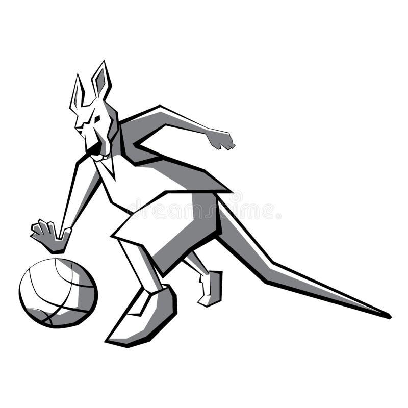 Giocatore di pallacanestro del canguro illustrazione di stock