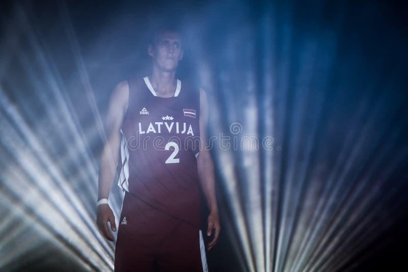 Giocatore di pallacanestro lettone Nauris Miezis fotografia stock libera da diritti