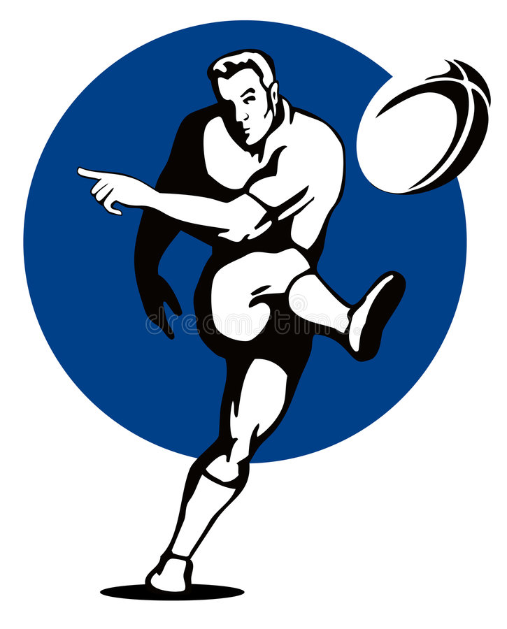Giocatore di rugby che dà dei calci alla sfera illustrazione vettoriale