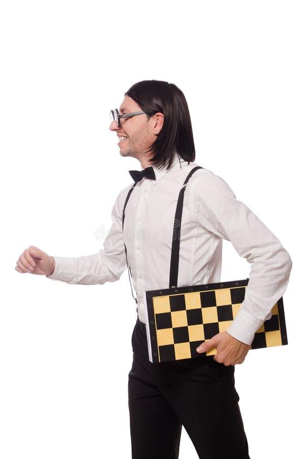 Giocatore di scacchi del nerd isolato fotografie stock libere da diritti