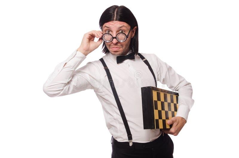 Giocatore di scacchi del nerd isolato fotografie stock