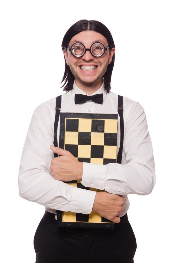 Giocatore di scacchi del nerd isolato immagine stock libera da diritti