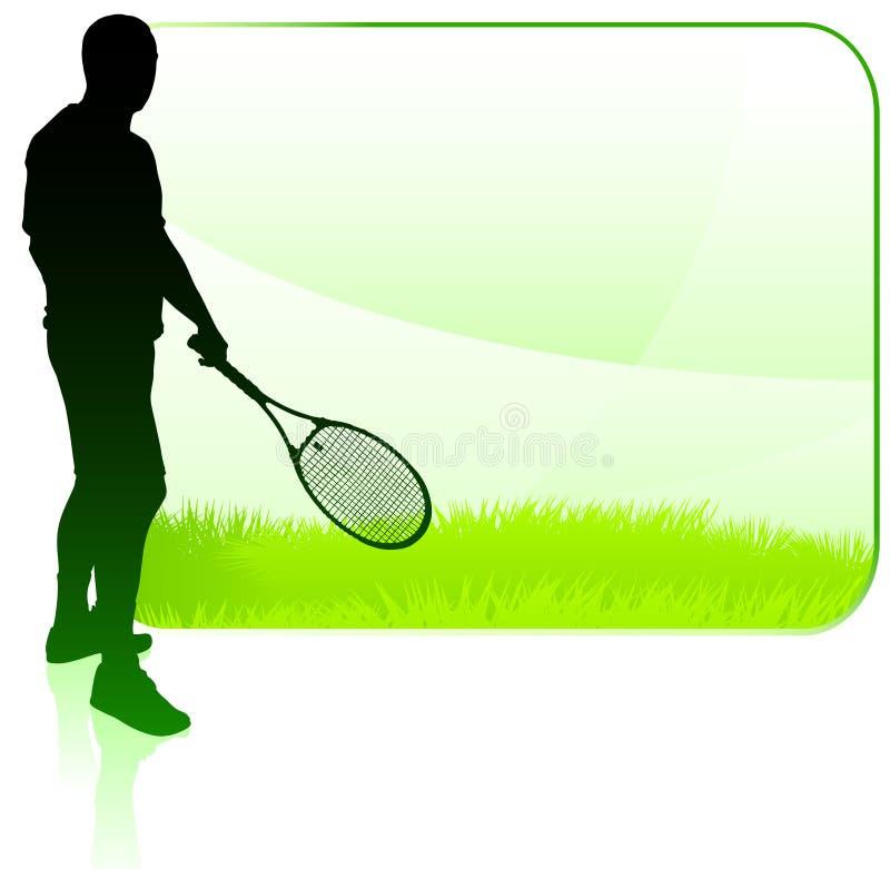 Giocatore di tennis con il blocco per grafici in bianco della natura illustrazione vettoriale