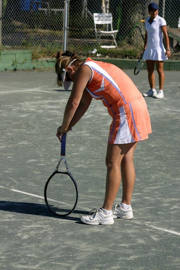 Giocatore di tennis esaurito fotografia stock libera da diritti