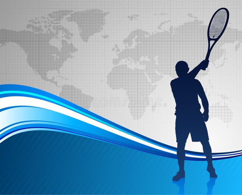 Giocatore di tennis su priorità bassa astratta illustrazione vettoriale