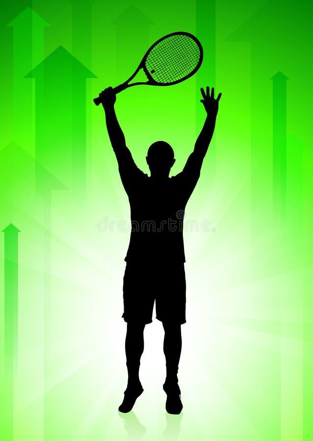 Giocatore di tennis sulla priorità bassa verde delle frecce illustrazione di stock