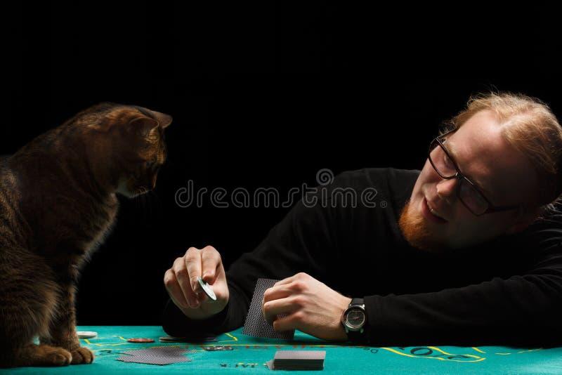 Giocatore e gatto fotografia stock libera da diritti