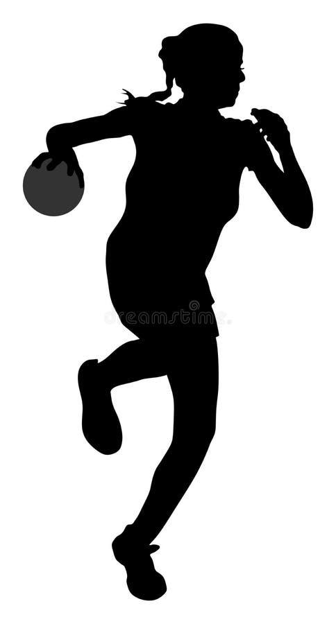 Giocatore femminile di pallamano nella siluetta di azione Ragazza di pallamano che salta nell'aria illustrazione vettoriale