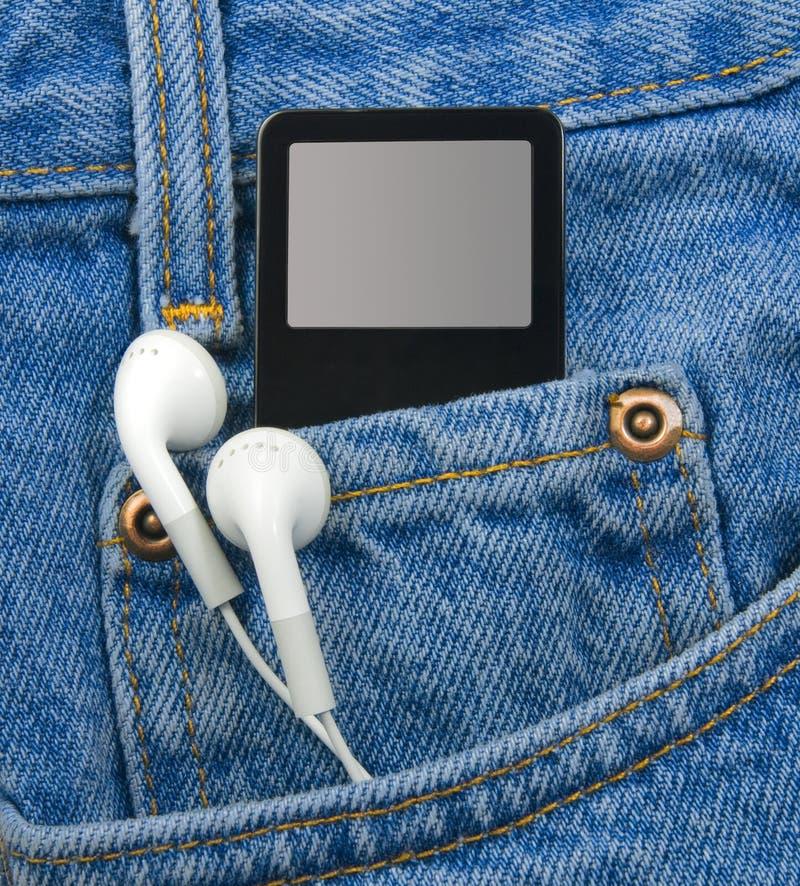 Giocatore MP3 in casella con i trasduttori auricolari immagini stock