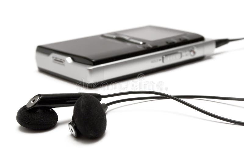 Giocatore MP3 con i trasduttori auricolari fotografie stock libere da diritti