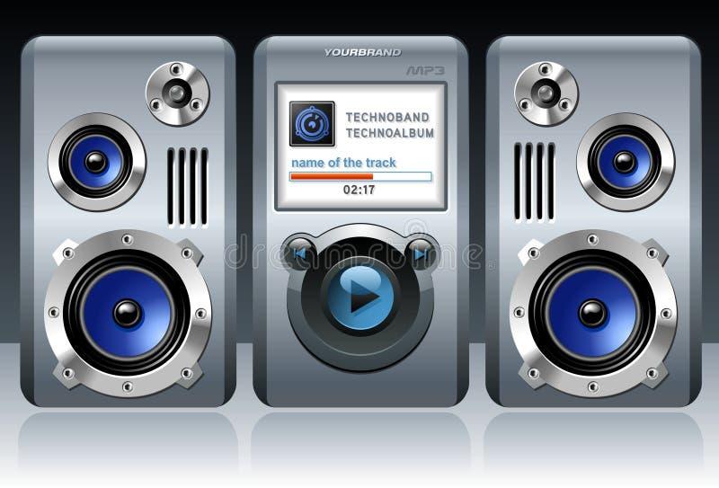 Giocatore MP3 dettagliato con gli altoparlanti royalty illustrazione gratis