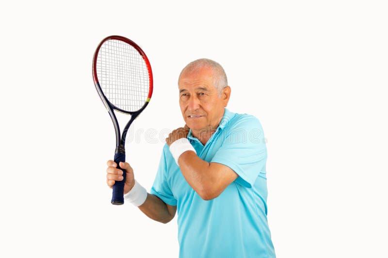 Giocatore senior con dolore in spalla immagini stock libere da diritti