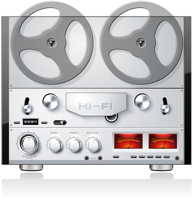 Giocatore stereo analogico r della piastra di registrazione della bobina aperta dell'annata illustrazione vettoriale