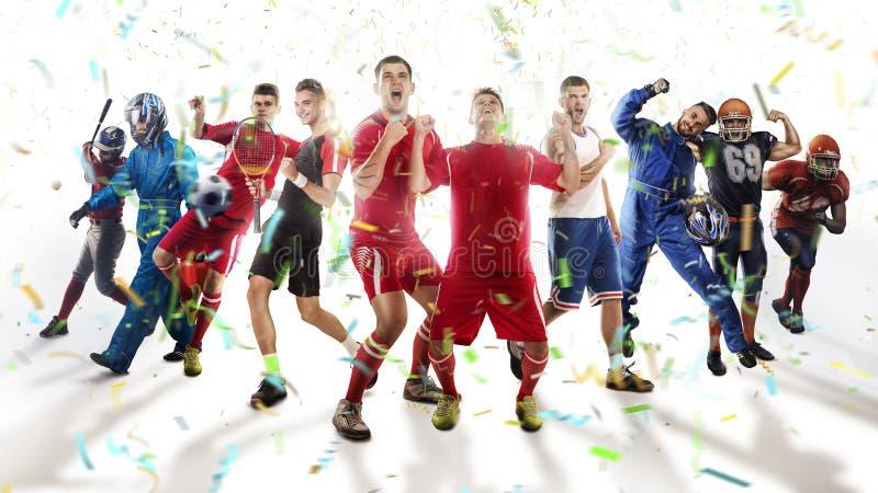 Giocatori degli sport differenti isolati su bianco fotografia stock