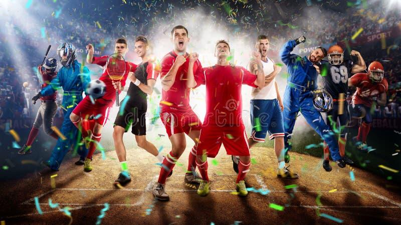 Giocatori degli sport differenti nella rappresentazione dello stadio di baseball 3D immagine stock