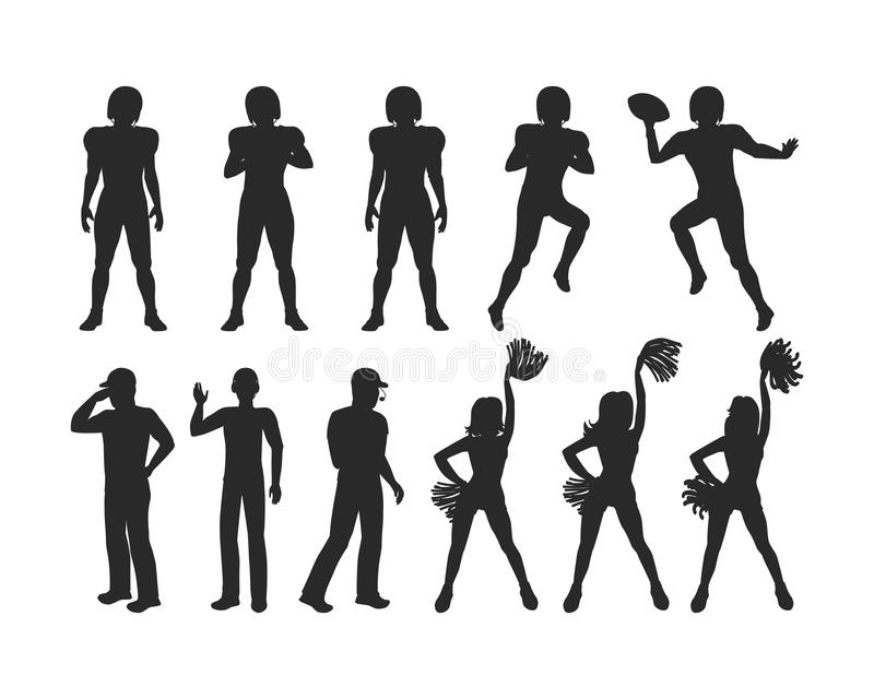 Giocatori di football americano, allenatori, ragazze Cheerleading illustrazione di stock