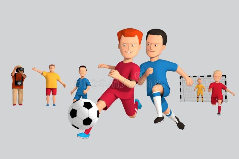 giocatori di football americano dei ragazzi dell'illustrazione 3d fatti funzionare con una palla Intorno a sperimentare fan royalty illustrazione gratis