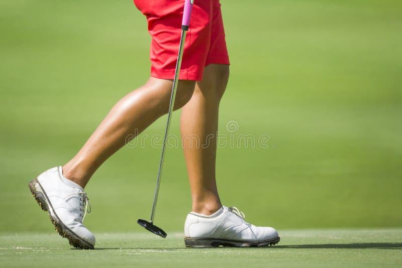Giocatori di golf femminili che camminano sul verde immagine stock
