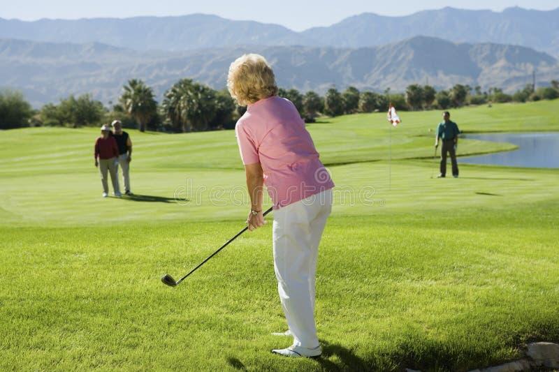 Giocatori di golf maggiori del gruppo che giocano golf fotografia stock libera da diritti