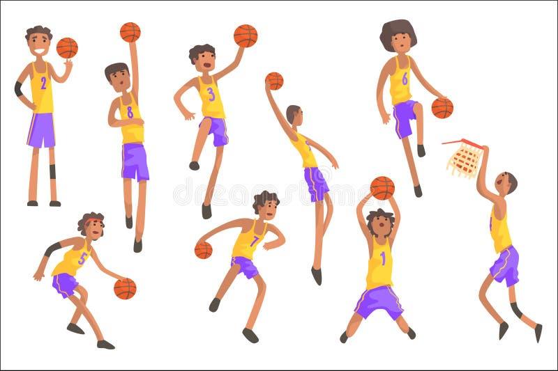 Giocatori di pallacanestro dello stesso Team Action Stickers royalty illustrazione gratis