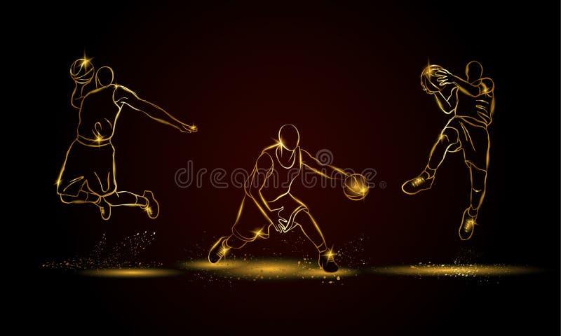 Giocatori di pallacanestro messi Illustrazione dorata del giocatore di pallacanestro illustrazione di stock