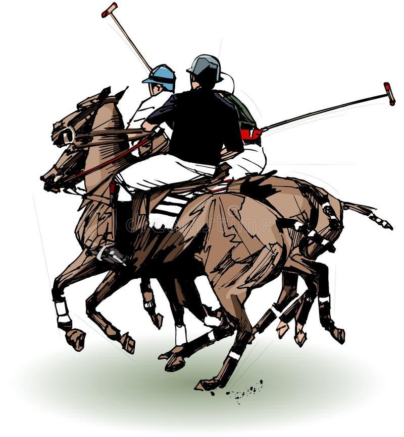 Giocatori di polo (illustrazione della mano) illustrazione di stock