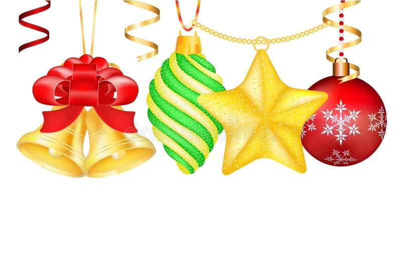 Giocattoli d'annata della decorazione di Natale 3d di vettore illustrazione di stock