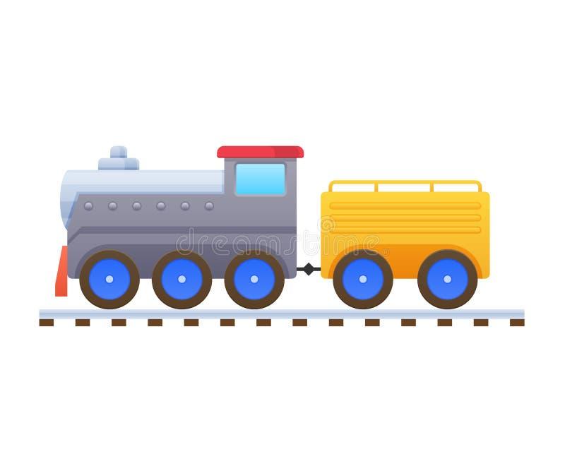 Giocattoli dei bambini s Bello trasporto multicolore del treno, della locomotiva, del passeggero e del carico royalty illustrazione gratis