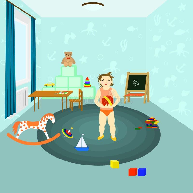 Giocattoli dei giochi da bambini in una stanza di bambini illustrazione di stock